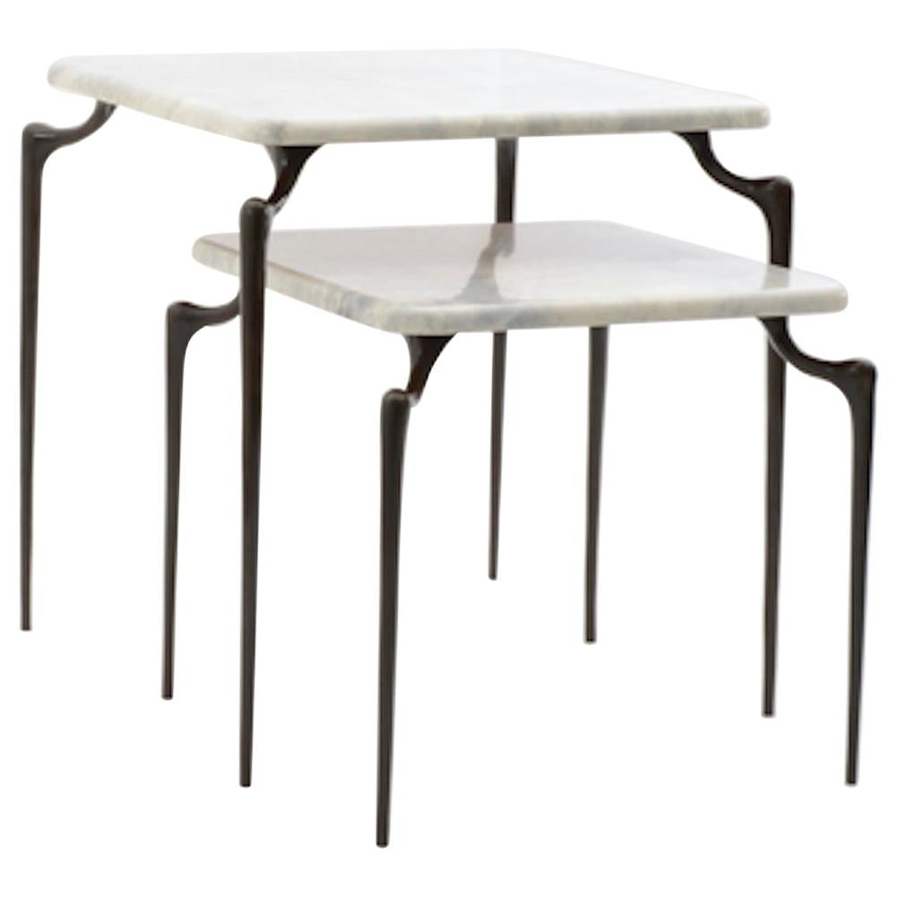 Large Dojo Side Table in Cast Bronze and Parchment by Elan Atelier