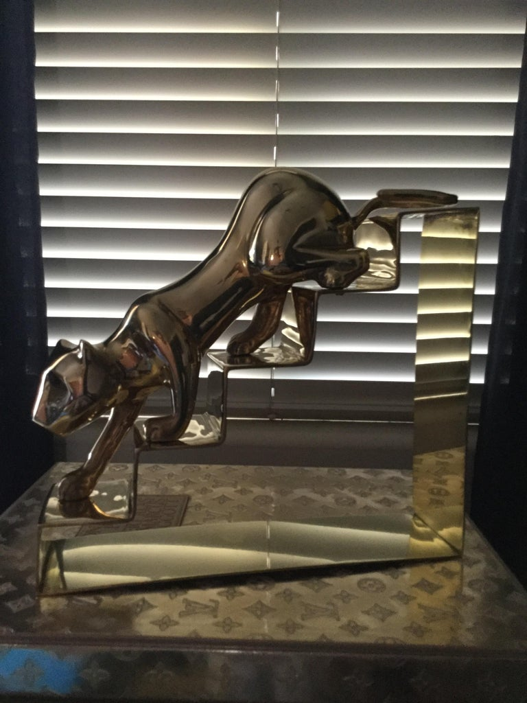 Art Deco Large Dolbi Panther on Steps Brass Figurine For Sale