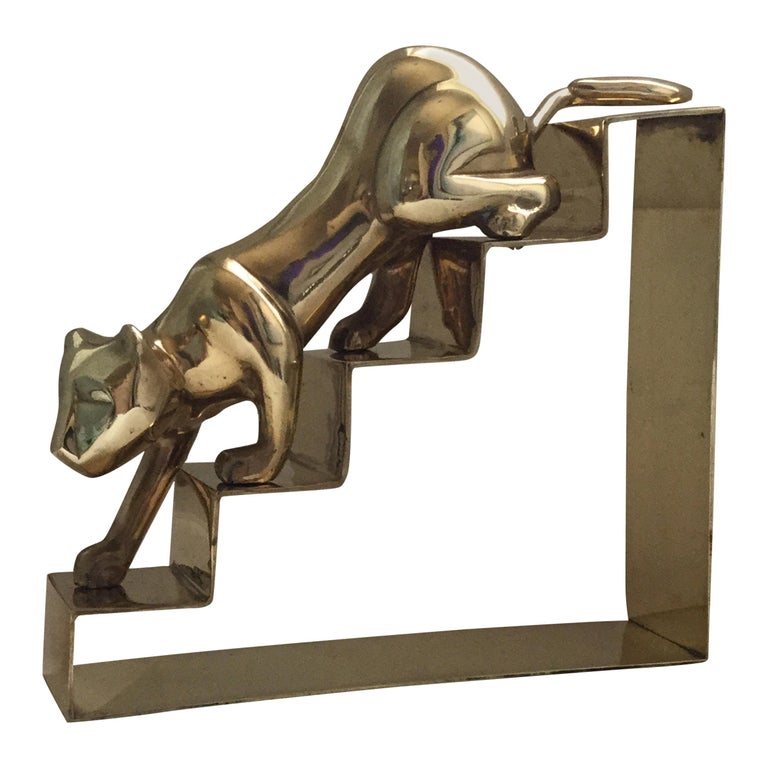 Large Dolbi Panther on Steps Brass Figurine For Sale