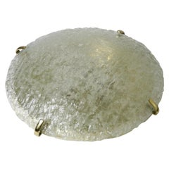 Large Dome Shaped Kalmar Flush Mount on a Brass Base, 1980