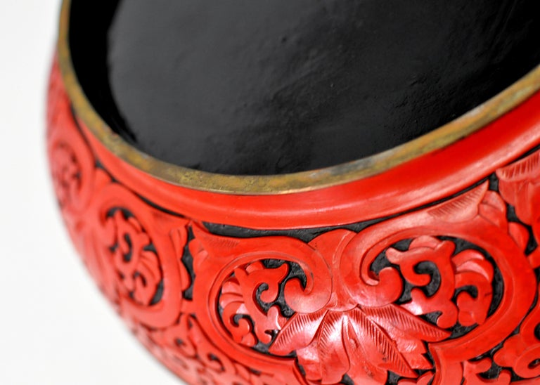 Large Domed Chinese Cinnabar Box For Sale 3