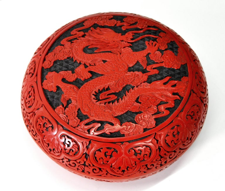 Large Domed Chinese Cinnabar Box For Sale 4