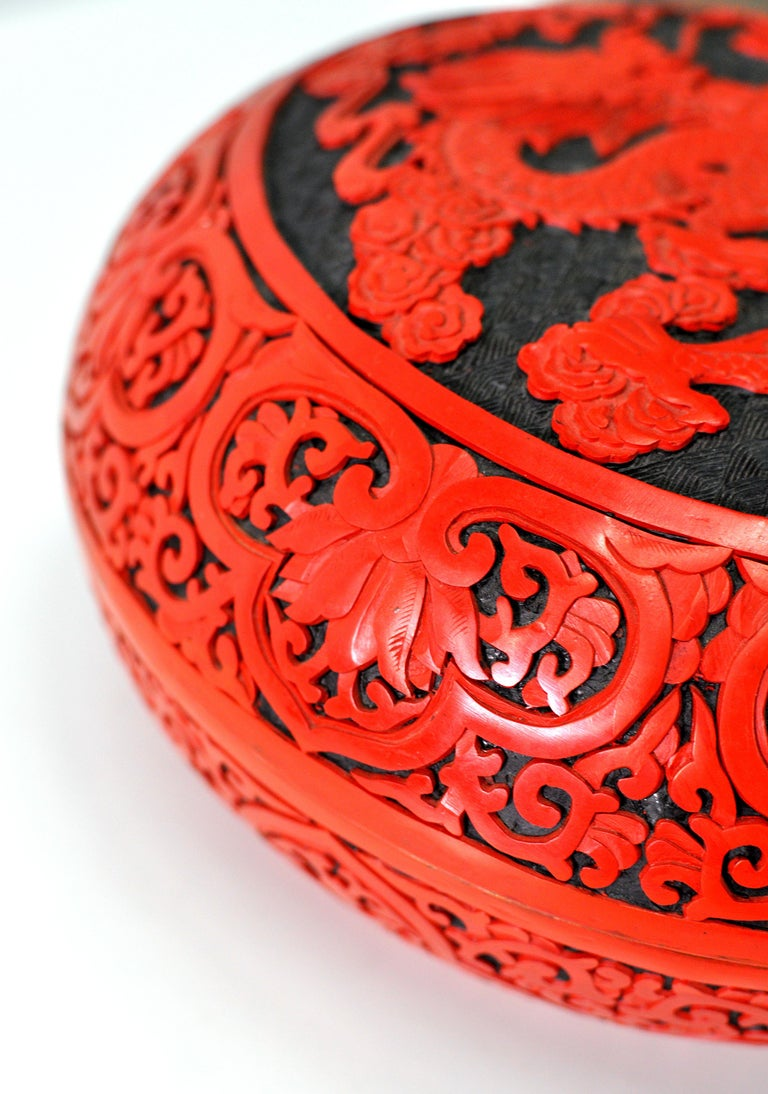 Chinese Export Large Domed Chinese Cinnabar Box For Sale