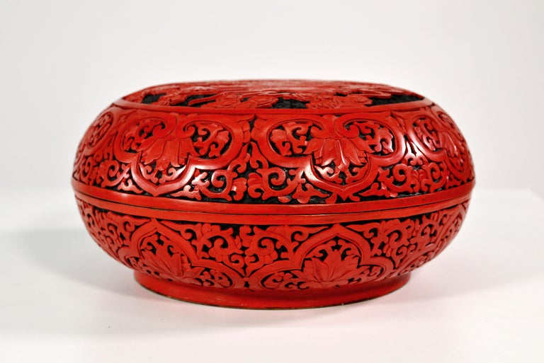 Hand-Carved Large Domed Chinese Cinnabar Box For Sale