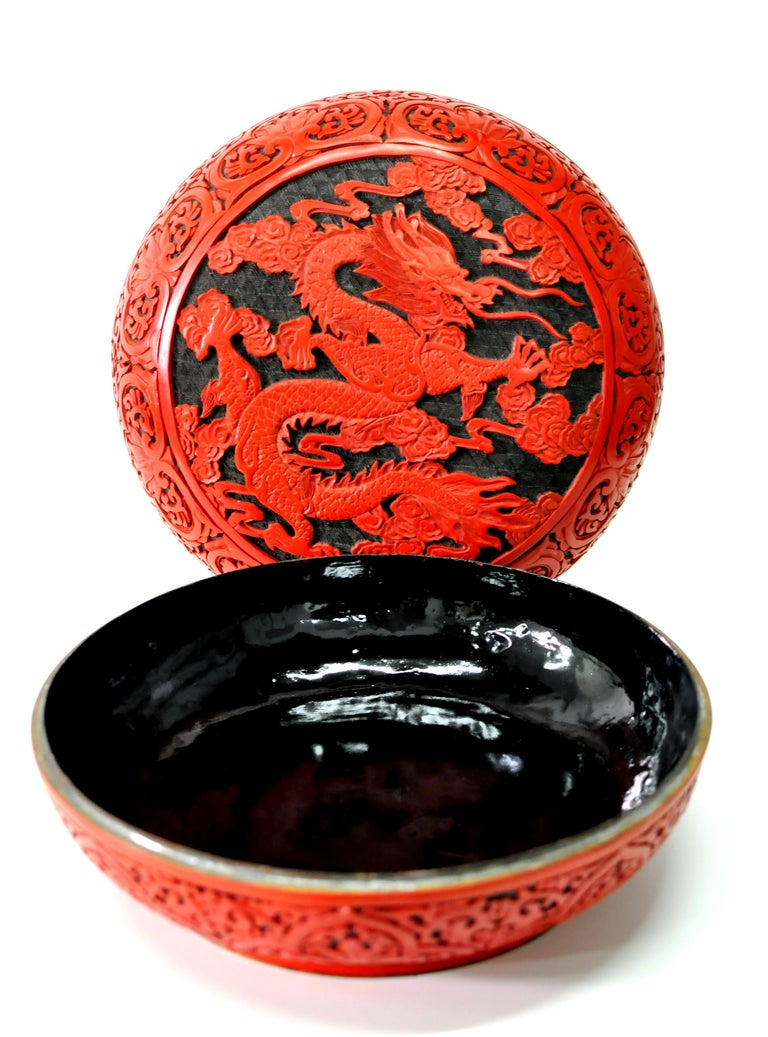Mid-20th Century Large Domed Chinese Cinnabar Box For Sale