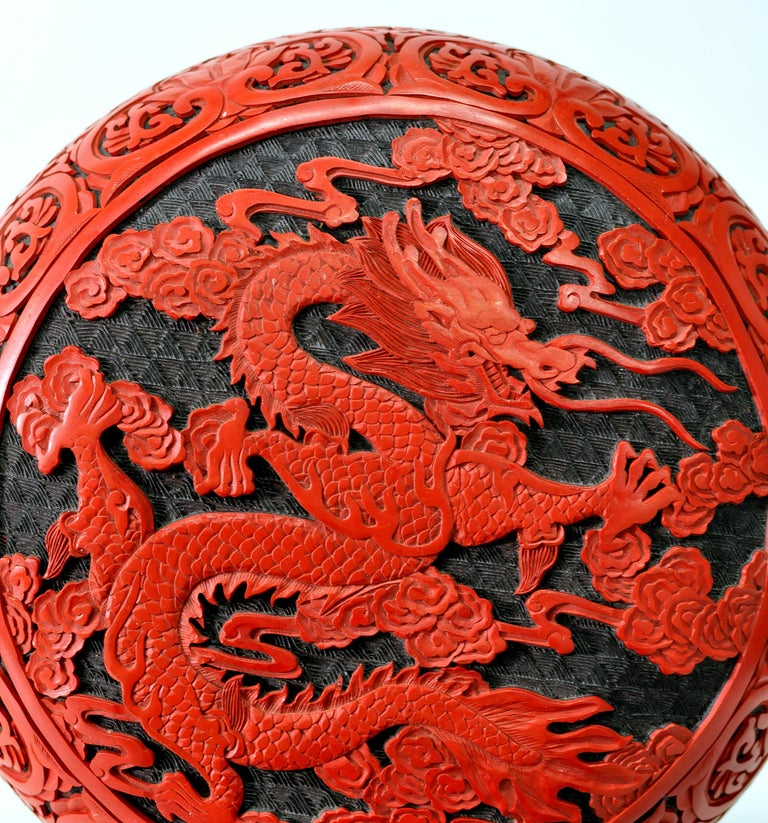 Brass Large Domed Chinese Cinnabar Box For Sale