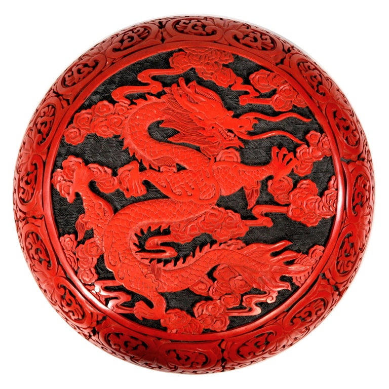Large Domed Chinese Cinnabar Box For Sale