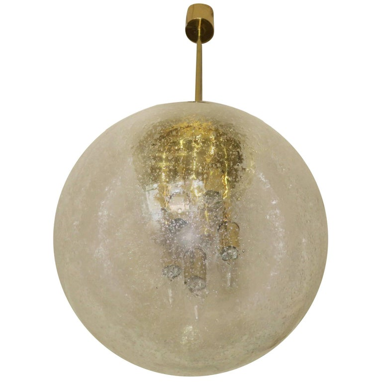 Large Doria Brass and Frosted Glass Globe Pendant, 1960