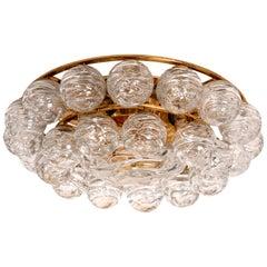 Large Doria Flushmount Light Fixture Glass Brass Nickel, 1960s