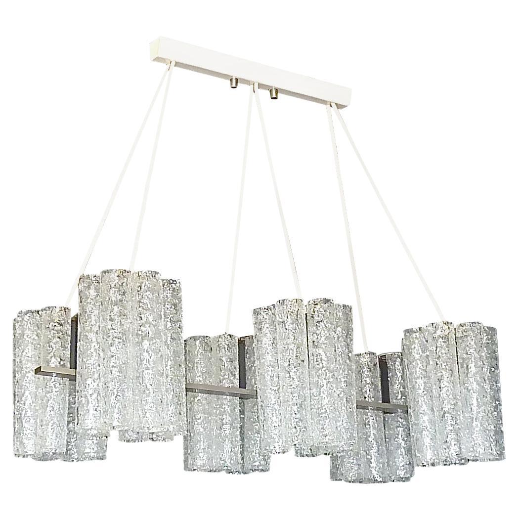 Large Doria Six Light Chandelier Steel Grey Murano Ice Glass Tubes, 1960s Venini
