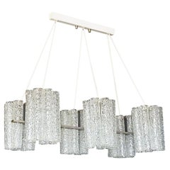 Large Doria Six Light Chandelier Steel Grey Murano Ice Glass Tubes, 1960s Venini