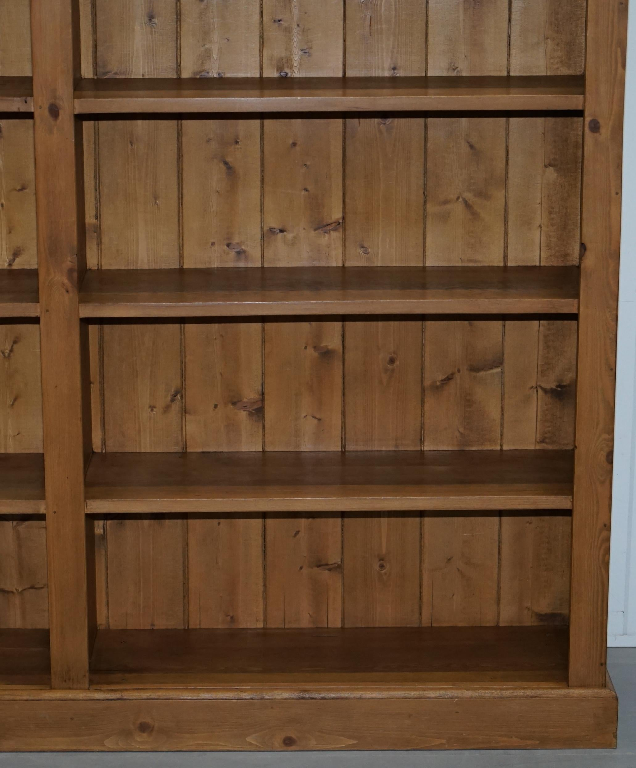 Large Double Bank Solid Pine Library Bookcase Wide Lots Storage