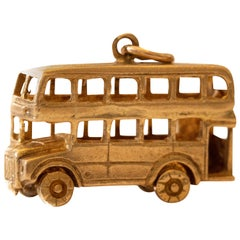 Large Double Decker Bus with Moving Wheels 9 Karat Yellow Gold Vintage Charm
