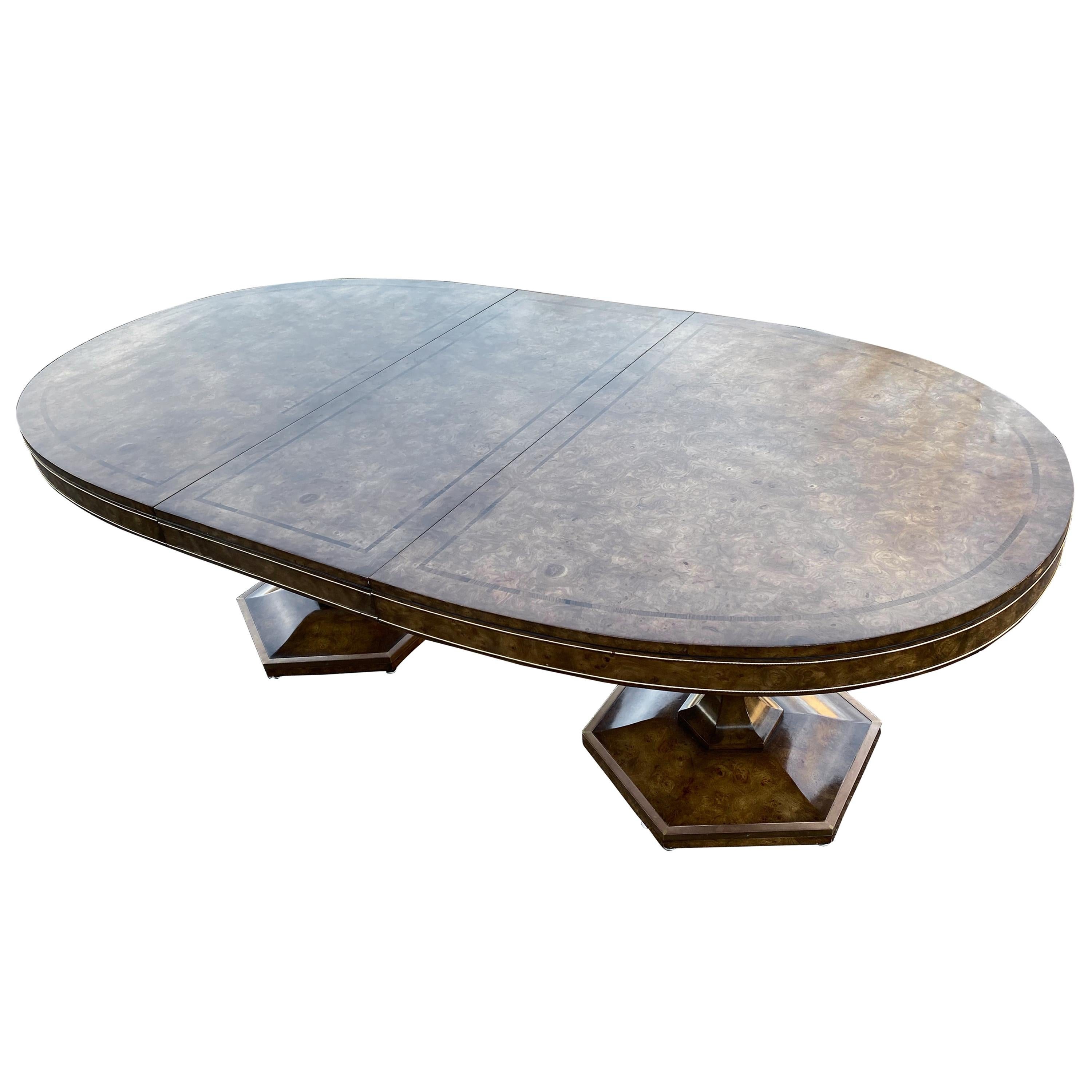 Large Mastercraft Dining Room Table In Burlwood And Brass