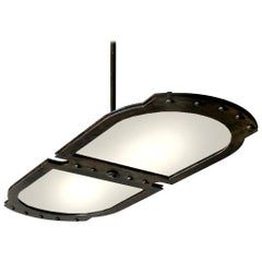 Large Double-Plate Frosted Glass Pendent