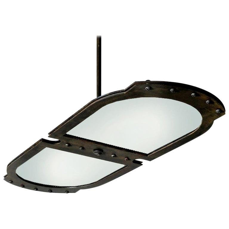 Large Double-Plate Natural Frosted Glass Pendent For Sale
