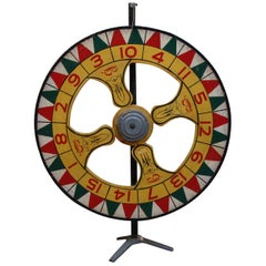 Large Double Sided, Hand Painted Antique Carnival Gaming Wheel, 1930s-1940s