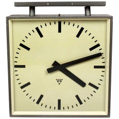 Large Double-Sided Railway Clock from Pragotron, 1970s