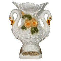 Large Double Swan Vase or Planter