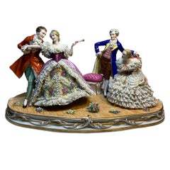 Large Dresden Lace Porcelain Group Figurines