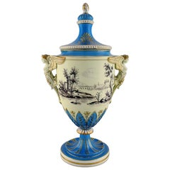 Large Dresden Ornamental Vase in Hand Painted Porcelain with Classicist Scenes