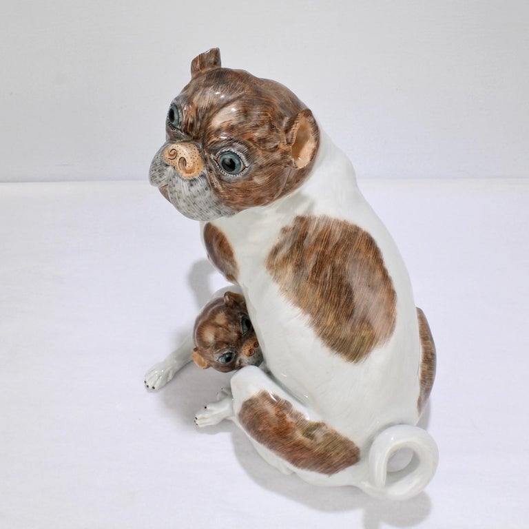 Large Dresden Porcelain Pug Dog Mother and Puppy Figurine or Model For Sale 4
