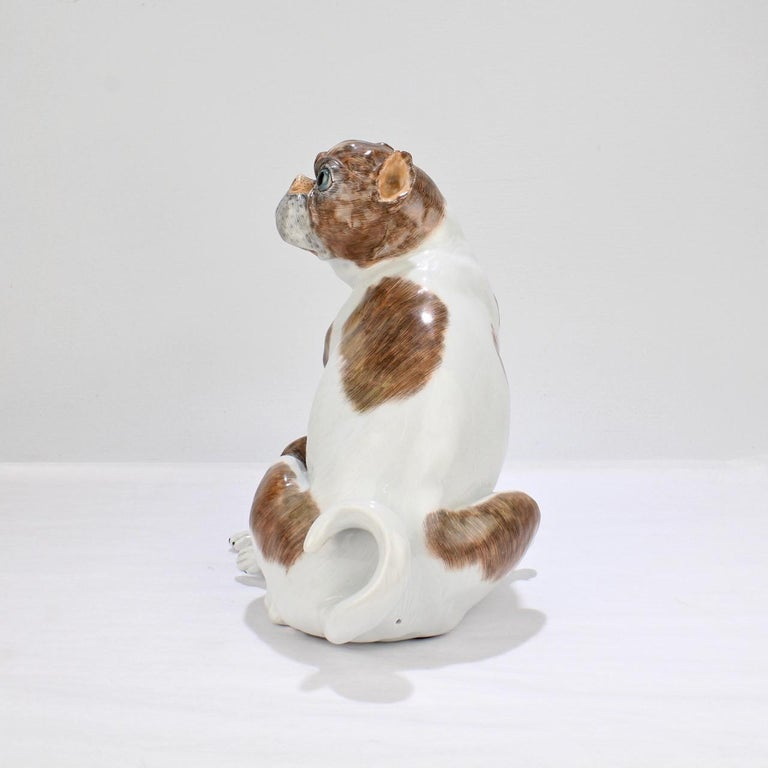 Large Dresden Porcelain Pug Dog Mother and Puppy Figurine or Model In Good Condition For Sale In Philadelphia, PA
