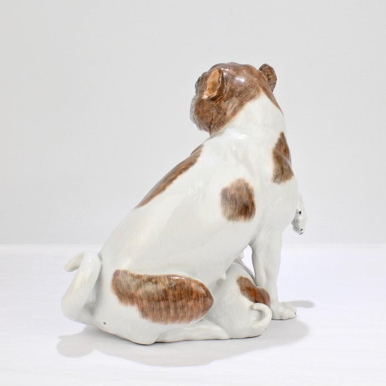 20th Century Large Dresden Porcelain Pug Dog Mother and Puppy Figurine or Model For Sale