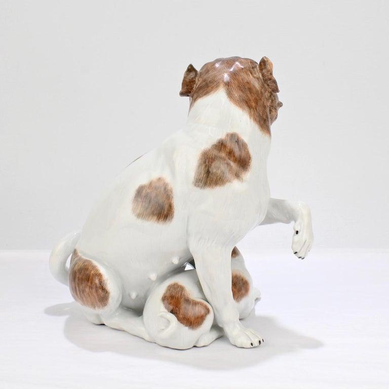 Large Dresden Porcelain Pug Dog Mother and Puppy Figurine or Model For Sale 1