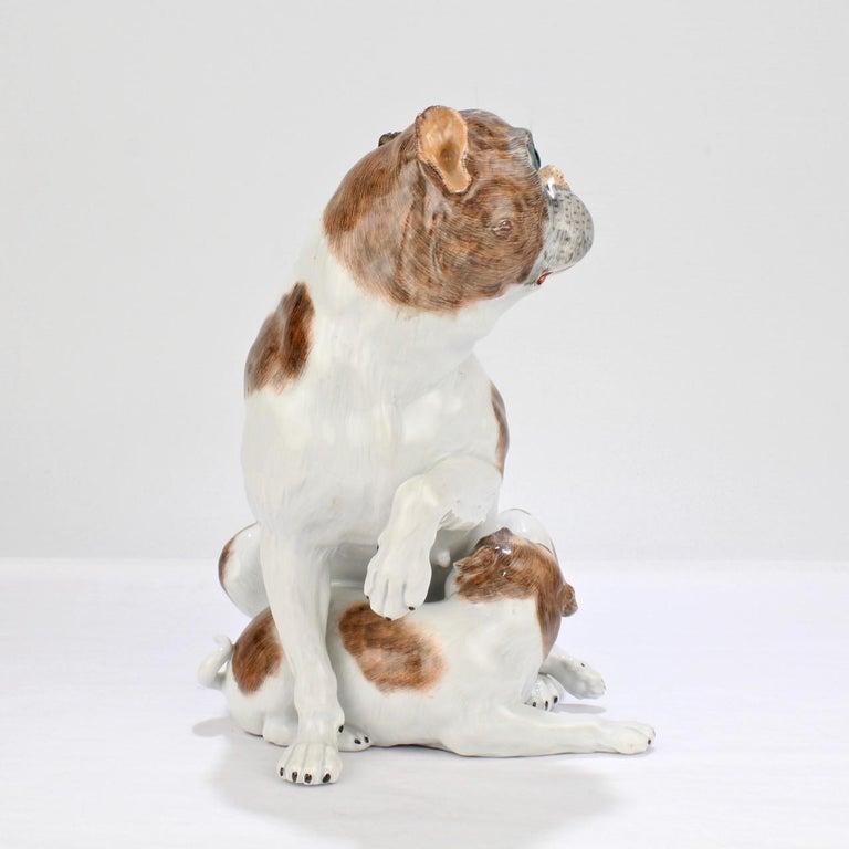 Large Dresden Porcelain Pug Dog Mother and Puppy Figurine or Model For Sale 2