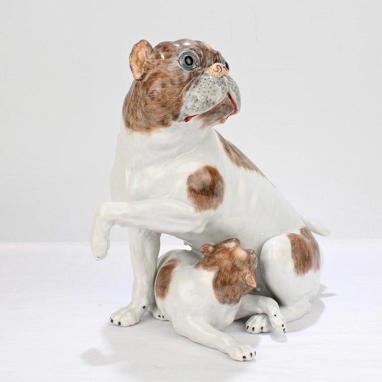 Large Dresden Porcelain Pug Dog Mother and Puppy Figurine or Model For Sale 3