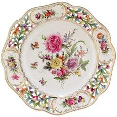 Large Dresden Potschnappel Porcelain Charger / Wall Plate with Deutsche Blumen