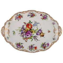 Large Dresden Serving Dish in Hand Painted Porcelain with Floral Motifs
