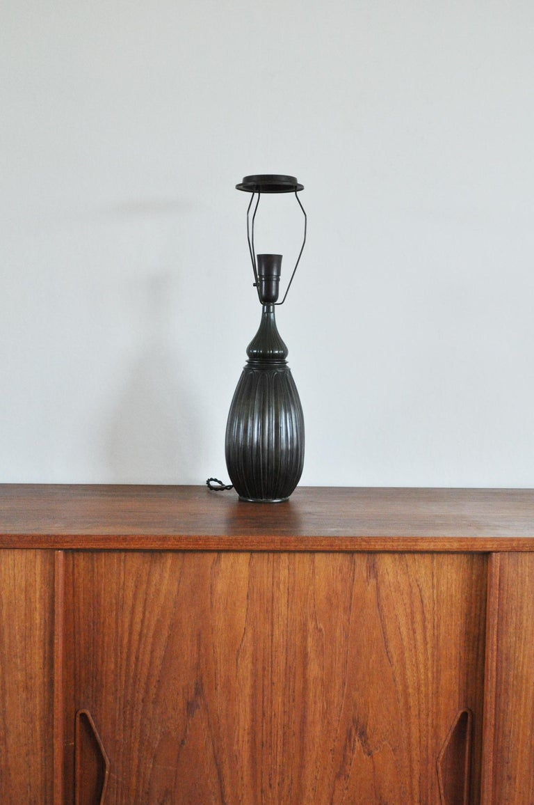 Art Deco Large Drop Shaped Just Andersen Disko Metal Table Lamp, Denmark, 1930s For Sale