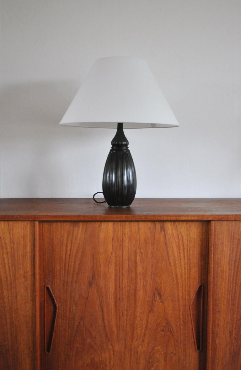 20th Century Large Drop Shaped Just Andersen Disko Metal Table Lamp, Denmark, 1930s For Sale