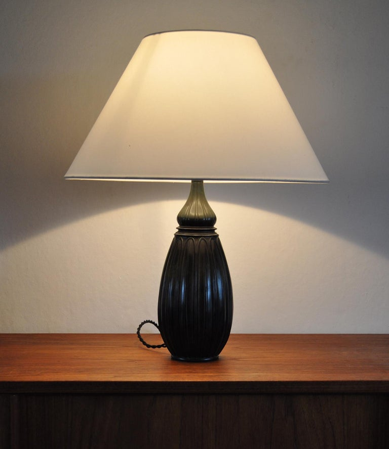 Large Drop Shaped Just Andersen Disko Metal Table Lamp, Denmark, 1930s For Sale 1