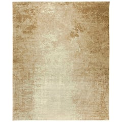 Large Dusk Beige Handmade Silk Rug