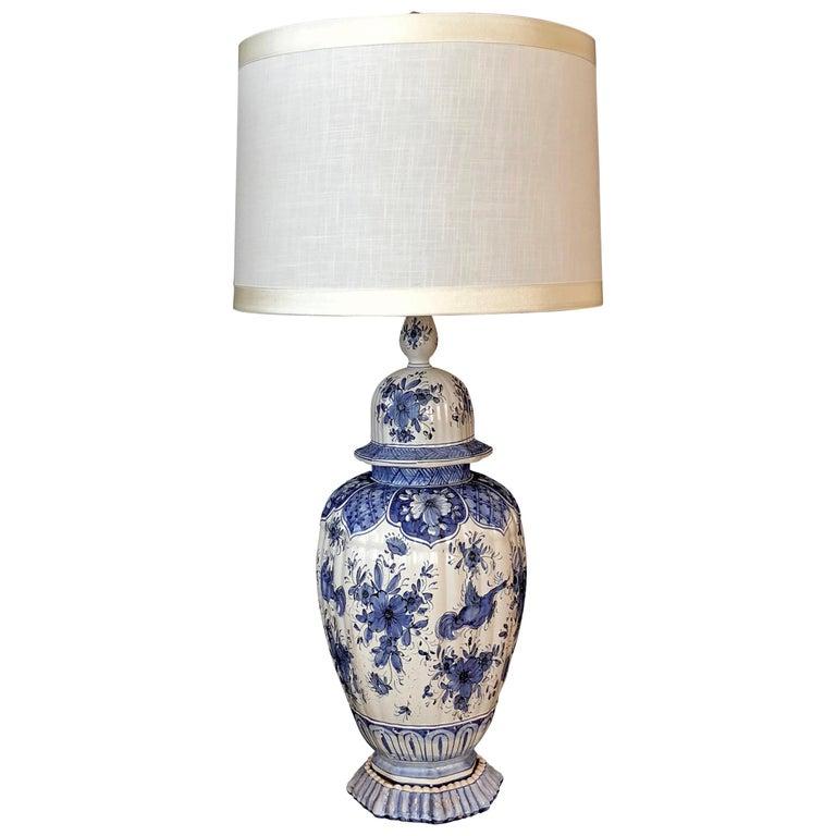 AS IS Cobalt Blue Ginger Jar Lamp Vintage Large Blue Ginger Jar Lamp MCM Picture Lamp Shade Ginger Jar Lamp With Scenic Lampshade