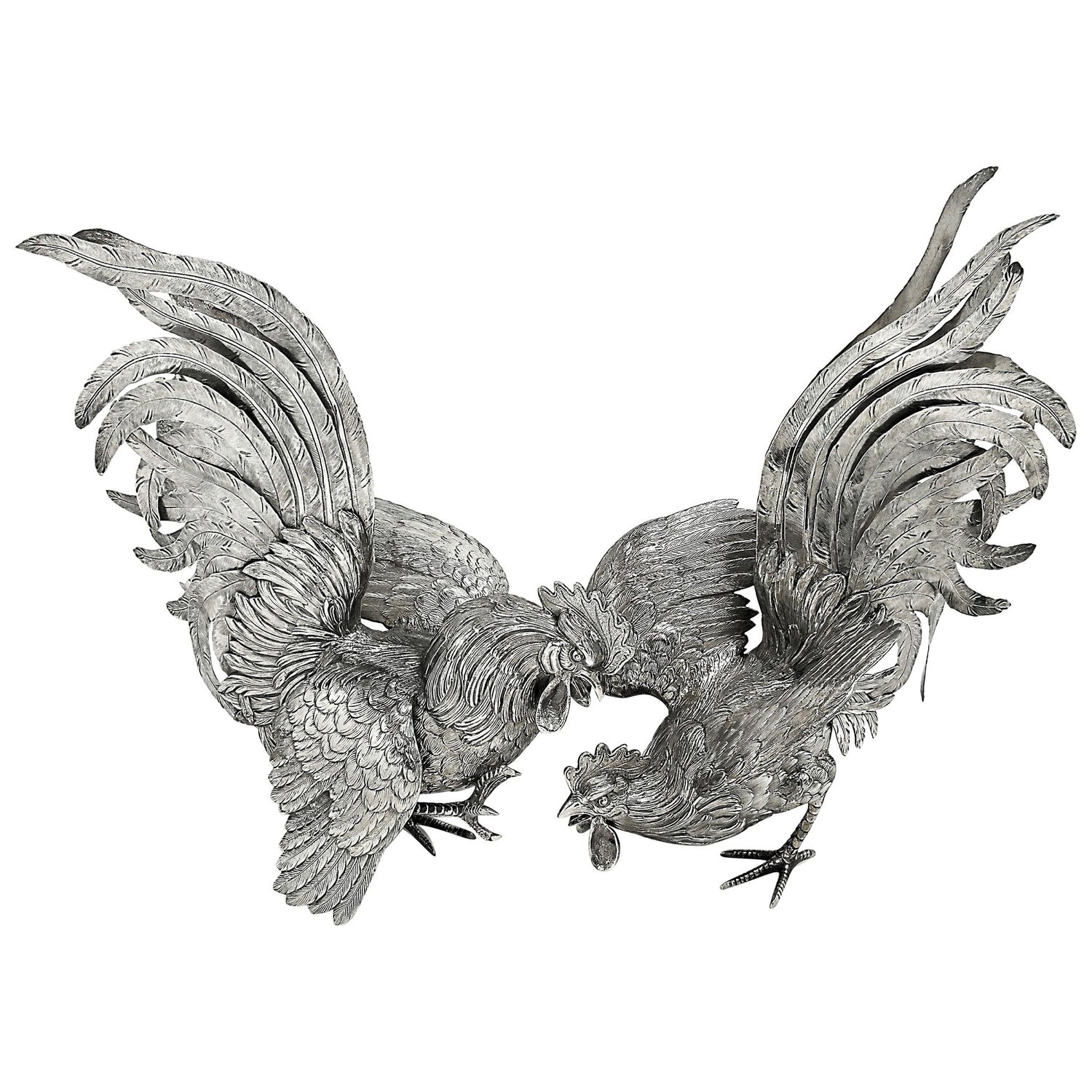 Large Dutch Antique Pair Silver Fighting Cockerels Roosters Models Figures c1900