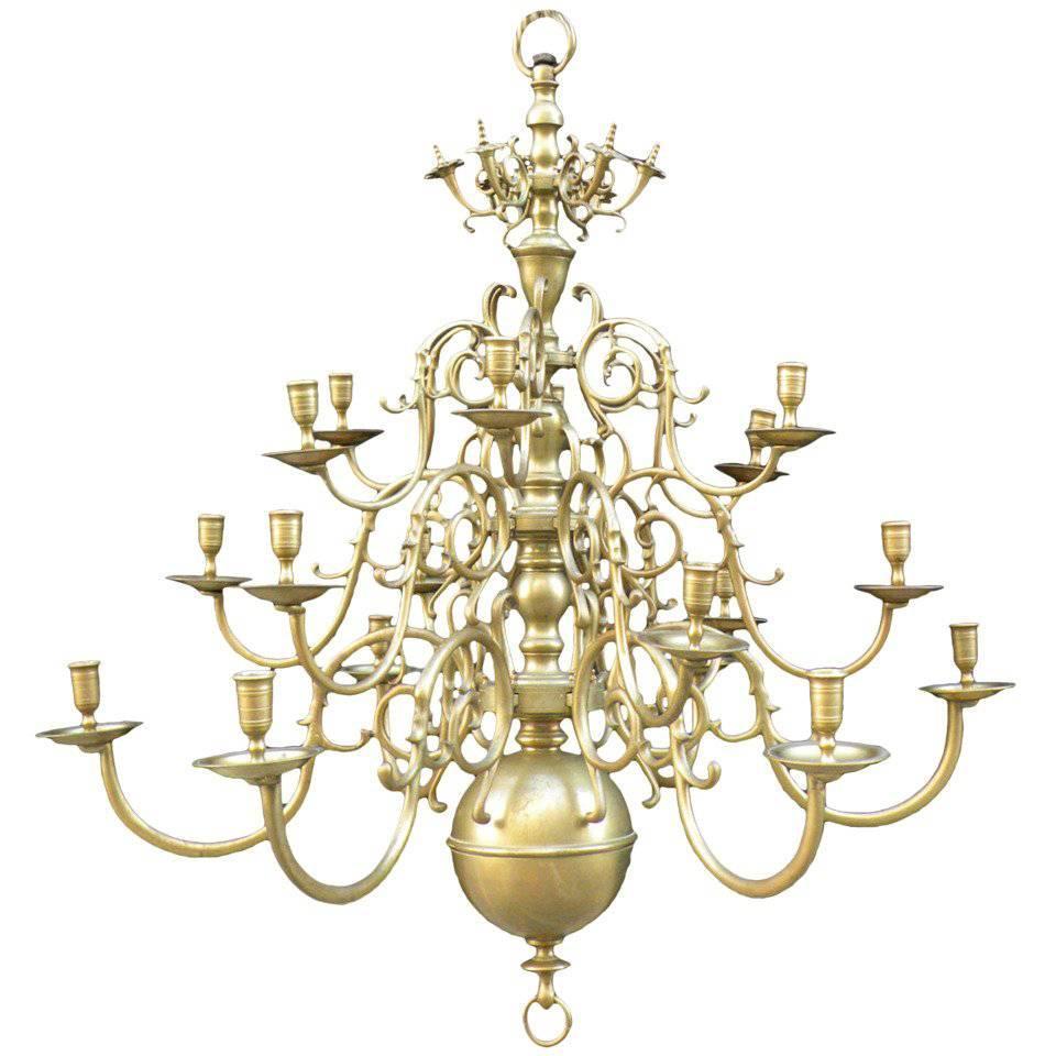 Large Dutch Baroque Style 18-Light Brass Chandelier