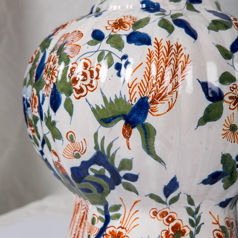 Hand-Painted Large Dutch Delft Hand Painted Vases a Pair with Cashmere Palette For Sale