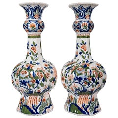 Large Dutch Delft Hand Painted Vases a Pair with Cashmere Palette