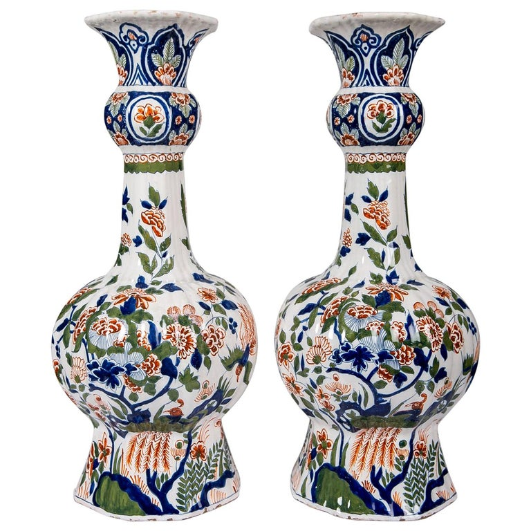 Large Dutch Delft Hand Painted Vases a Pair with Cashmere Palette For Sale