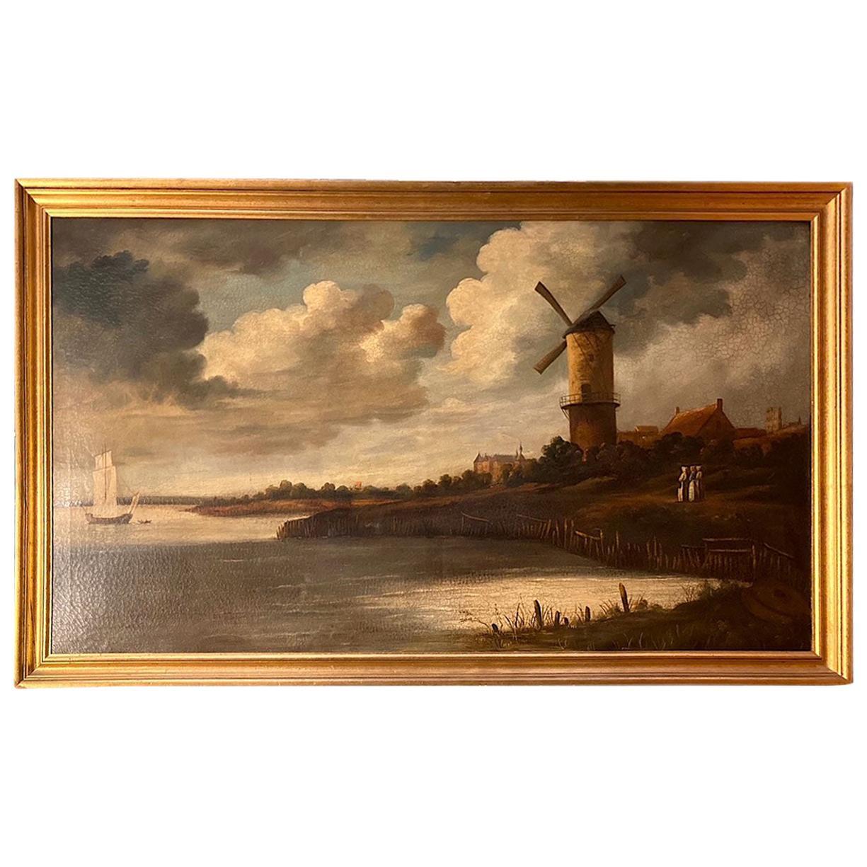 Large Dutch Landscape Painting