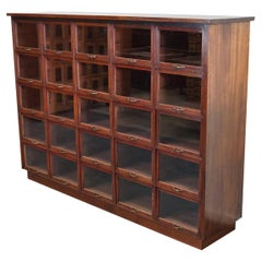 Large Dutch Oak and Mahogany Haberdashery Shop Cabinet, 1930s