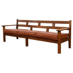 Large Dutch Oak Bench with Leather Seat Cushion