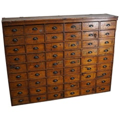 Large Dutch Pine Industrial Apothecary or Workshop Cabinet, 1950s