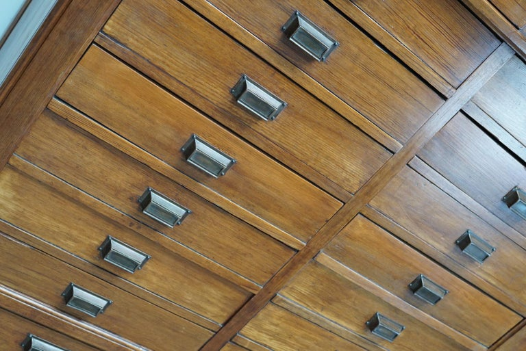 Large Dutch Pitch Pine Bank of Drawers, Early 20th Century For Sale 7