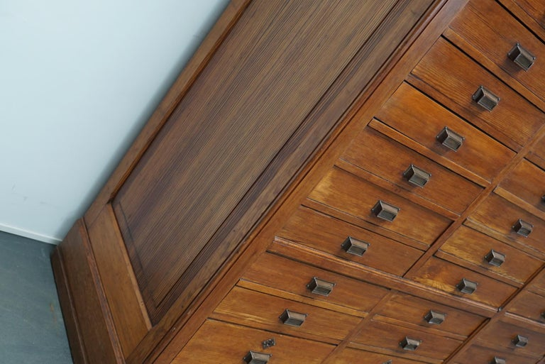 Industrial Large Dutch Pitch Pine Bank of Drawers, Early 20th Century For Sale