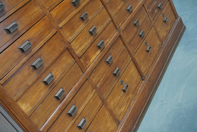 Mid-20th Century Large Dutch Pitch Pine Bank of Drawers, Early 20th Century For Sale